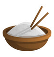 wood rice bowl icon cartoon style vector image