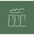 Factory pipes icon drawn in chalk vector image