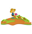 a farmer watering plant vector image