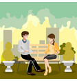a loving couple sitting on a park bench vector image vector image