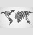 abstract world map of radial lines technology vector image vector image