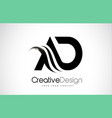ad a d creative brush black letters design with vector image vector image