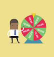 african businessman and result of wheel of fortune vector image vector image
