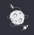 astronaut flying around moon vector image vector image