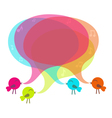 Birds with colorful speech bubble vector image