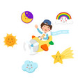 boy riding plane on the sky and symbol setisolated vector image vector image