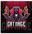 cat mage esport mascot logo design vector image