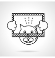 Cat with frame flat line icon vector image
