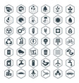 eco icons black set vector image vector image
