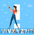 exclamation point white letter with people vector image