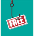 fishing hook with sign with text free vector image