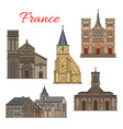 french travel landmark icon havre architecture vector image vector image