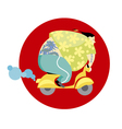 fun vespa delivery man in asian style vector image