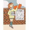 Girl with books caress a cat on brick wall vector image
