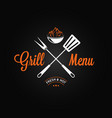 grill logo vintage emblem grill fire and tools on vector image vector image