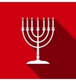 Hanukkah menorah icon with long shadow vector image vector image