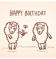 Happy birthday card Funny sheep girl and boy with vector image vector image