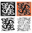 Intricate celtic mystical dragon animals vector image vector image