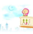 Kid offering namaaz for Eid celebration vector image