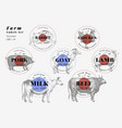 labels with farm animals hand drawn animals set vector image