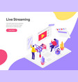 landing page template live streaming isometric vector image