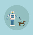 modern robot walking with dog futuristic vector image vector image