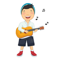 Of A Little Boy Playing Guitar vector image vector image