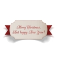 Realistic Christmas paper Label and red Ribbon vector image vector image