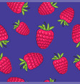 seamless pattern raspberries on purple background vector image vector image