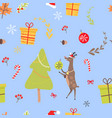 seamless pattern with reindeer christmas candies vector image vector image