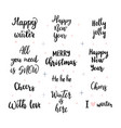 set handwritten merry christmas and happy new vector image vector image