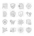 set icons of cyber protection and internet vector image