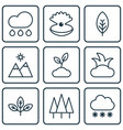 set of 9 world icons includes rain sprout vector image vector image