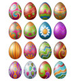 set of colorful decorated easter eggs isolated on vector image