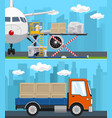 set of transportation and air cargo services vector image