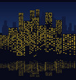 skyscrapers with water reflections at night vector image vector image