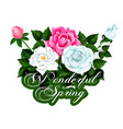 spring time icon of seasonal roses flowers vector image vector image