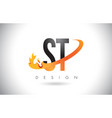 st s t letter logo with fire flames design and vector image vector image