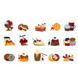 sweets and people recolor icons set vector image vector image