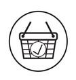 thin line shopping basket icon design vector image vector image