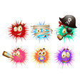 Thorny ball with faces vector image vector image