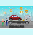 tow truck and driver services vector image vector image