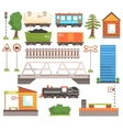Train Tansport Related Collection Of Icons vector image vector image