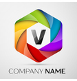 V Letter colorful logo in the hexagonal on grey vector image vector image