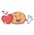 with heart mochi mascot cartoon style vector image
