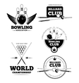 Billiards emblems and bowling labels vector image