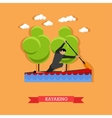 Man swims in kayak with paddle flat design vector image