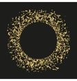 Golden sequins are scattered on a black background vector image