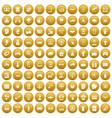 100 hi-tech icons set gold vector image vector image