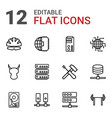 12 hard icons vector image vector image